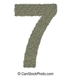 number 7 made of huge amount of old and dirty microprocessors