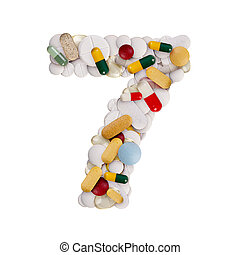 Number 7 made of pills