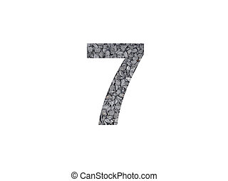 Number 7 of alphabet made with gravel