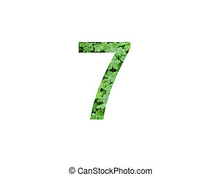 Number 7 of the alphabet made with green leaf of geranium