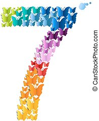 Number 7 Off Butterfly, With Gradient Mesh, Vector...