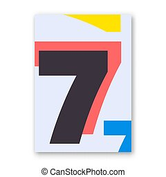 Number 7 poster. Cover design for magazine, printing...