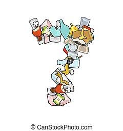 Number 7 Rubbish. Trash font seven sign. garbage alphabet symbol. Lettering litter