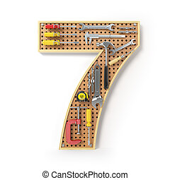 Number 7 seven Alphabet from the tools on the metal pegboard isolated on white.