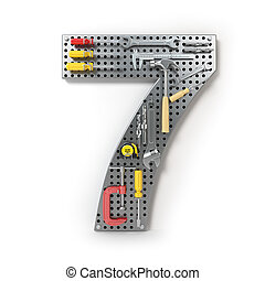 Number 7 seven. Alphabet from the tools on the metal pegboard isolated on white.