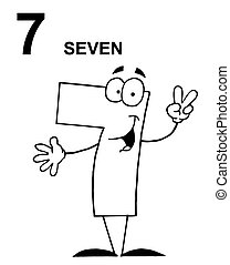 Number 7 Seven Guy With Text - Friendly Outlined Number 7...