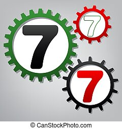 Number 7 sign design template element. Vector. Three connected g