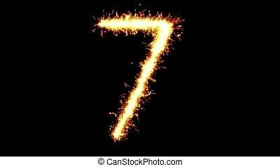 Number 7 Text Sparkler Glitter Sparks Firework Loop...