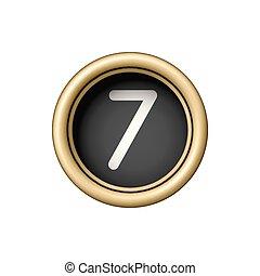 Number 7. Vintage golden typewriter button.