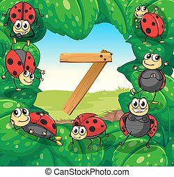Number 7 with 7 ladybugs on leaves illustration
