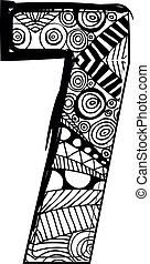 Number 7 with abstract drawing. Vector illustration