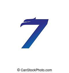 Number 7 with Eagle Head Logo Design
