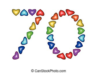 Number 70 made of multicolored hearts on white background