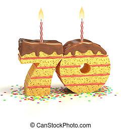number 70 shaped cake - Chocolate birthday cake surrounded...