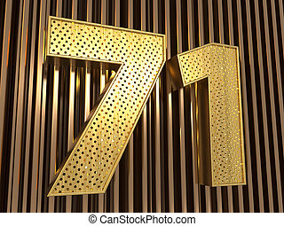 number 71 (number seventy-one) with small holes