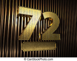 number 72 (number seventy-two) with small holes