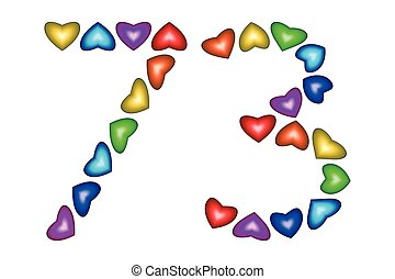 ... Number 73, seventy three, colorful hearts on white - Number.
