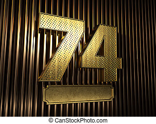 number 74 (number seventy-four) with small holes