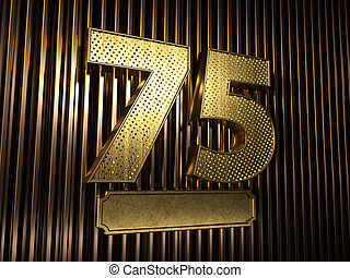number 75 (number seventy-five) with small holes