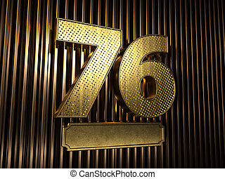 number 76 (number seventy-six) with small holes