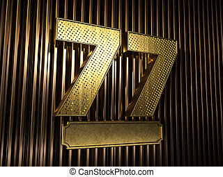 number 77 (number seventy-seven) with small holes