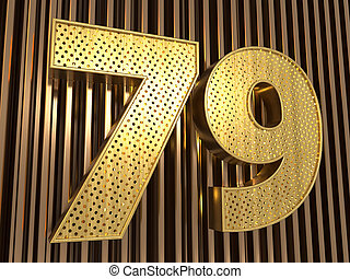 number 79 (number seventy-nine) with small holes