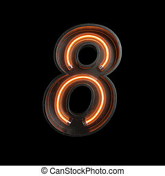 Number 8, Alphabet made from Neon Light with clipping path
