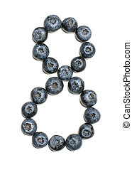 Number 8 arranged from northern highbush blueberry isolated
