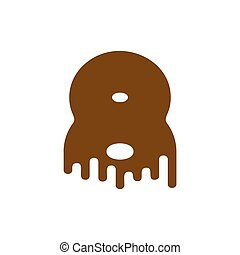 Number 8 Chocolate font. Sweetness numeral eight alphabet. Liquid lettering figure. Sweet viscous ABC sign
