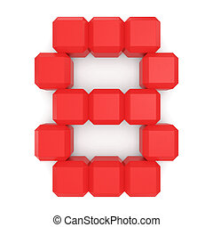 number 8 cubic red