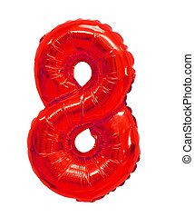 number 8 (eight) from balloons red