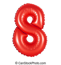 number 8 (eight) from balloons (red)