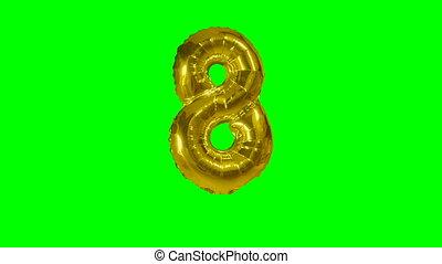 Number 8 eight years birthday anniversary gold balloon...