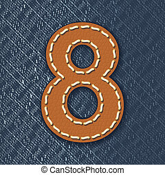 Number 8 made from leather