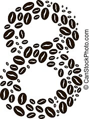 Number 8 made of coffee beans vector set