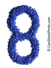 number 8 made of flowers (cornflowers) isolated