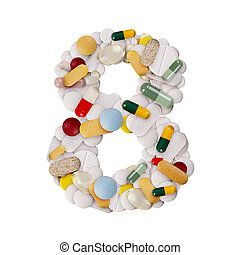 Number 8 made of pills