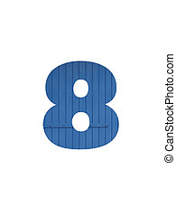 Number 8 of the alphabet made with blue wood