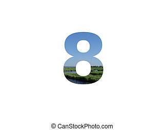 number 8 of the alphabet made with landscape