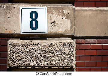 Number 8 on a wall