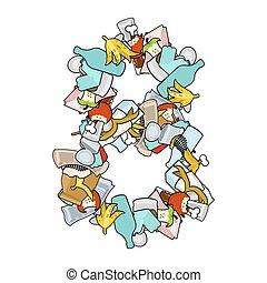 Number 8 Rubbish. Trash font eight sign. garbage alphabet symbol. Lettering litter