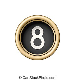 Number 8. Vintage golden typewriter button.
