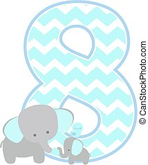 number 8 with cute elephant