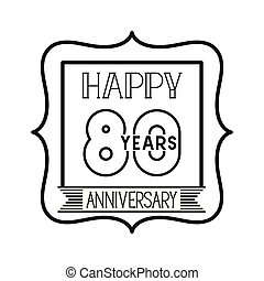 number 80 for anniversary celebration card icon