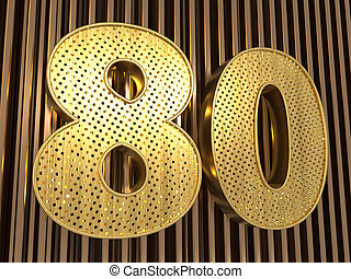 number 80 (number eighty) with small holes