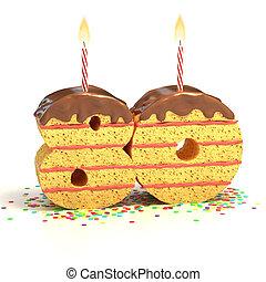 number 80 shaped cake - Chocolate birthday cake surrounded...