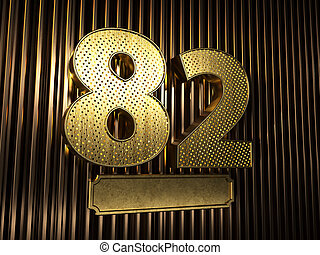 number 82 (number eighty-two) with small holes