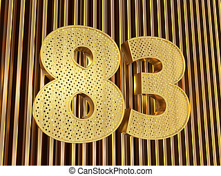 number 83 (number eighty-three) with small holes