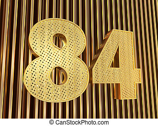 number 84 (number eighty-four) with small holes