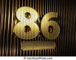 number 86 (number eighty-six) with small holes
